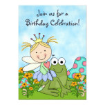 Blonde Fairy Princess and Frog Birthday Invite
