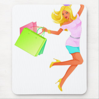 Blonde fashion model holding shopping bags mouse pad