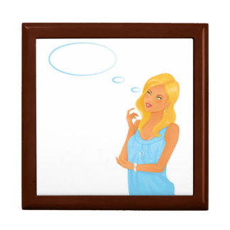 Blonde fashion model sign in blue dress large square gift box