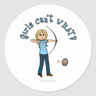 Blonde Female Archery in Blue Round Sticker