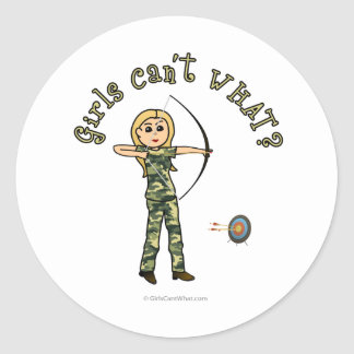 Blonde Female Archery in Camouflage Classic Round Sticker