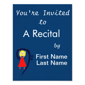 Blonde female blue bass clef red dress 11 cm x 14 cm invitation card