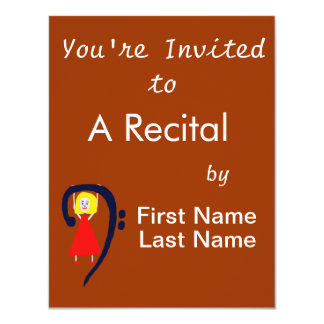 "Blonde female blue bass clef red dress 4.25"" x 5.5"" invitation card"
