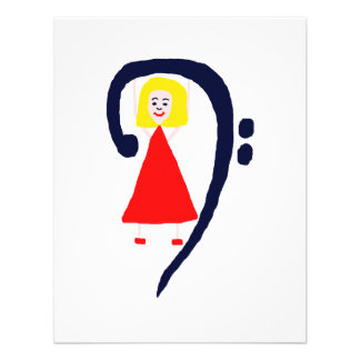 Blonde female blue bass clef red dress personalized announcement