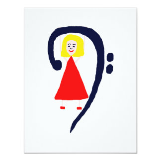 Blonde female blue bass clef red dress personalized announcements