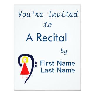 Blonde female blue bass clef red dress 4.25x5.5 paper invitation card