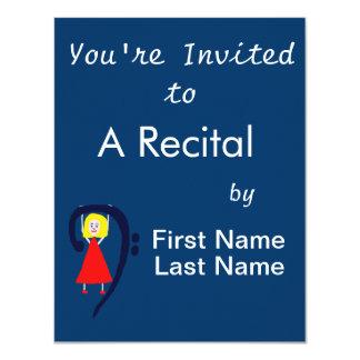 Blonde female blue bass clef red dress custom invitation