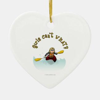 Blonde Female Kayaker Christmas Ornament