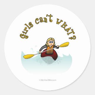 Blonde Female Kayaker Classic Round Sticker