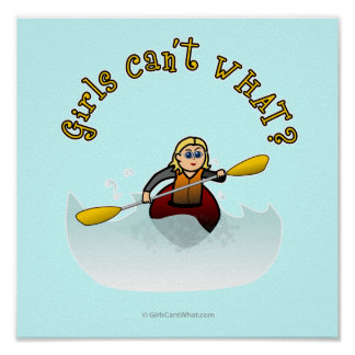Blonde Female Kayaker Poster
