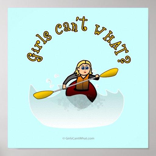 Blonde Female Kayaker Poster
