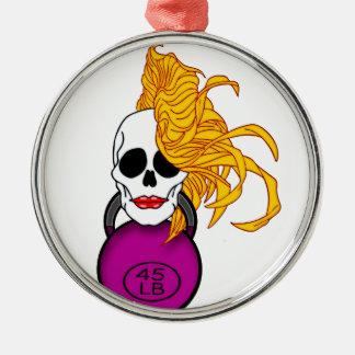 blonde female skull christmas ornament