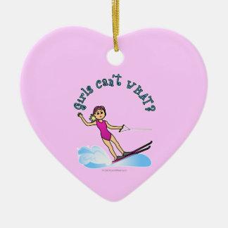 Blonde Female Water Skier Christmas Ornament