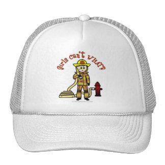 Blonde Firefighter Girl Mesh Hats