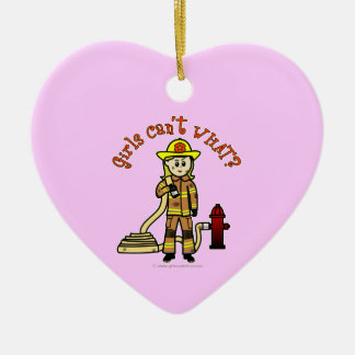 Blonde Firefighter Girl Christmas Ornament