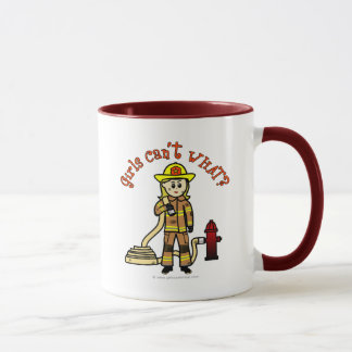 Blonde Firefighter Girl Mug