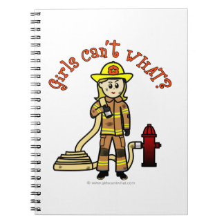 Blonde Firefighter Girl Notebook