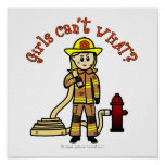 Blonde Firefighter Girl Poster