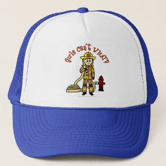 Blonde Firefighter Girl Trucker Hat