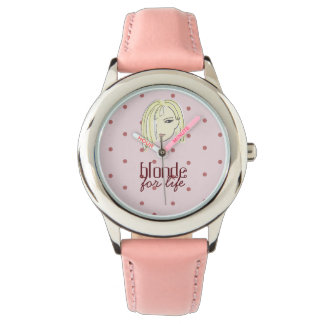 Blonde For Life Pink Dots Funny Beautiful Girl Watches