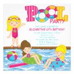 Blonde Girl Birthday Pool Party Invitation