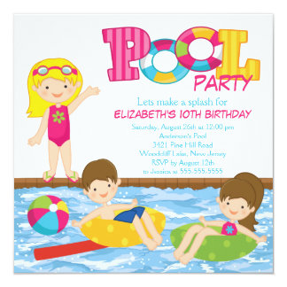 "Blonde Girl Birthday Summer Pool Party Invitation 5.25"" Square Invitation Card"