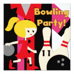 Blonde Girl Bowling Party Invitations