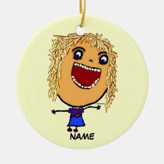 Blonde Girl Cartoon Christmas Ornament