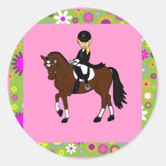 Blonde girl dressage horse rider caricature sticker