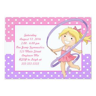 Blonde Girl Gymnastics Birthday Invitations