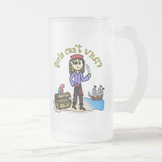 Blonde Girl Pirate Frosted Glass Mug