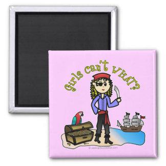 Blonde Girl Pirate Square Magnet