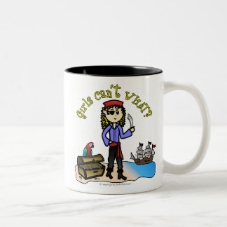 Blonde Girl Pirate Two-Tone Mug