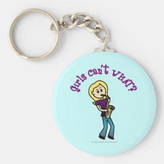 Blonde Girl Playing Saxophone Key Ring
