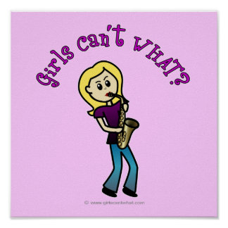 Blonde Girl Playing Saxophone Poster