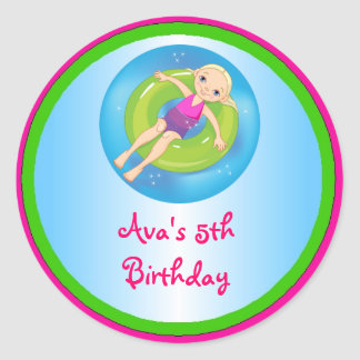 Blonde Girl Pool Birthday Party Favor Labels