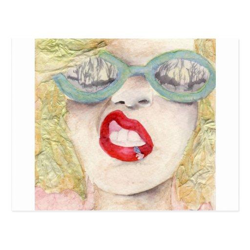 Blonde girl post card