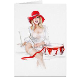 Blonde girl singer card