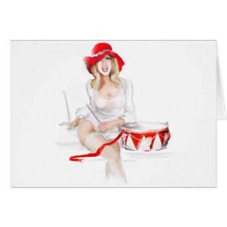 Blonde girl singer greeting card
