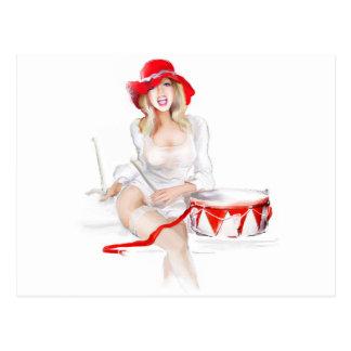 Blonde girl singer post card