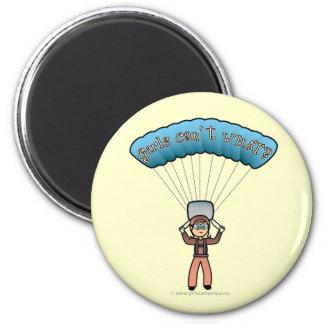 Blonde Girl Sky Diver 6 Cm Round Magnet
