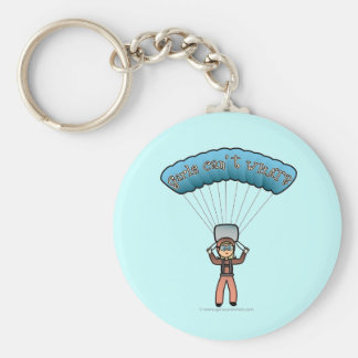Blonde Girl Sky Diver Basic Round Button Key Ring