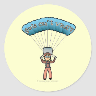 Blonde Girl Sky Diver Classic Round Sticker