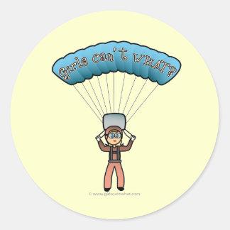 Blonde Girl Sky Diver Round Sticker