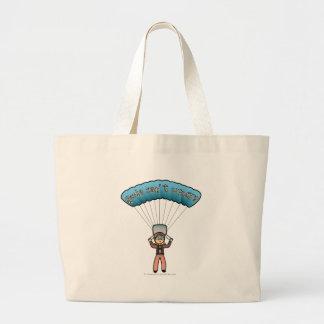Blonde Girl Sky Diver Jumbo Tote Bag