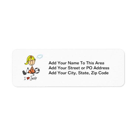 Blonde Girl Stick Figure I Love Soccer Gifts Return Address Label