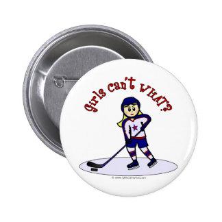 Blonde Girls Hockey Player 6 Cm Round Badge