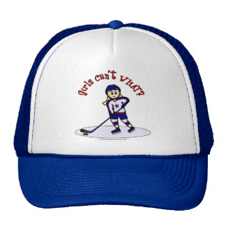 Blonde Girls Hockey Player Cap