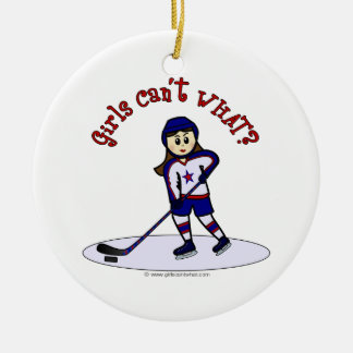 Blonde Girls Hockey Player Christmas Ornament