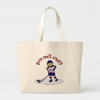 Blonde Girls Hockey Player Large Tote Bag